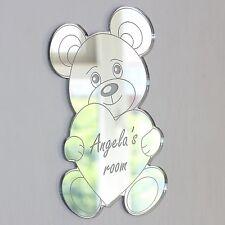 Teddy Bear Heart Mirror Set Personalised Door Name Plaque Boy Girl Bed Room Sign