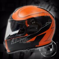 T14 Mako Flat Black Stryker Orange Motorcycle Bike Dual Visor Full Face Helmet