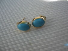 14KT Yellow Gold & Cabochon Oval Turquoise Bezel Set Earrings Post Style.....NEW