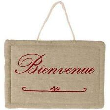 Bienvenue Embroidered Linen Door Knob Hanger Welcome Sign French Vintage  NEW