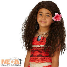 Moana Wig Kids Fancy Dress Disney Princess Book Film Charcater Girls Costume New
