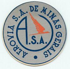 BRAZIL AEROVIAS DE MINAS GERAIS OLD AIRLINE AVIATION LUGGAGE LABEL