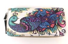 Peacock Wristlet Clutch Cosmetic Bag Pouch Purse Wallet Ladies Teal Purple