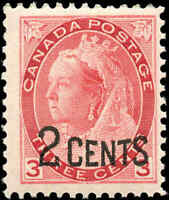 Canada Mint Scott #88 1899 2c-on-3c Provisional Stamp Never Hinged