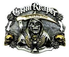 Cráneo CORREA HEBILLA Grim Reaper Memento Mori 24ct oro Gótico Dragón Designs