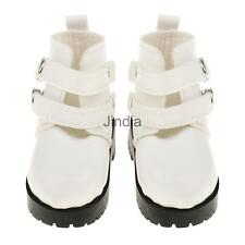 Pair of PU Leather Cool Martin Boots Shoes for 1/3 1/4 BJD SD Dolls White