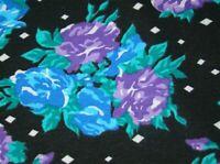 "Vintage 2YDS Purple Blue Roses Cotton 60"" Fabric"