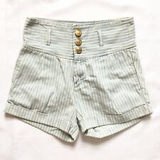 BNWT Motel Siren Striped Blue White Nautical Pin Up High Waisted Shorts 12