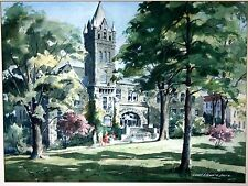 Lowell Ellsworth Smith Signed Watercolor painting Church College 18 X 23 3/4