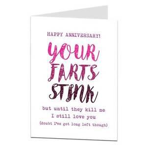 Funny Anniversary Card BF Boyfriend Husband Humour Cheeky Joke