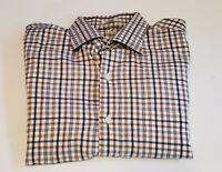 PETER MILLAR Mens Large Black Brown Plaid Shirt Button Down Front Cotton 33-7