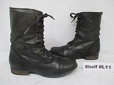 Steve Madden Troopa Black Leather Zip Lace Up Combat Boots Womens Size 5.5