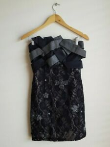 Manning Cartell Black Embroidered Lace Strapless Dress Women's Size 8