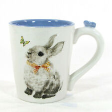 NEW Pier 1 Imports BUNNY PALS 16oz Mug Blue Butterfly Rabbit Flower Easter