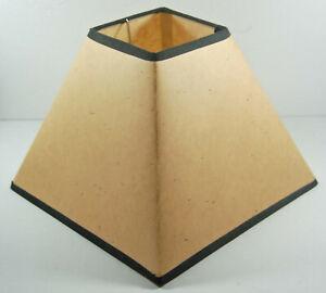 SQUARE FAUX SUEDE LAMP SHADE - BROWN BRAID TRIM