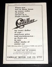 1908 OLD MAGAZINE PRINT AD, CADILLAC MOTOR CARS, MILES FOR EVERY DOLLAR OF COST!