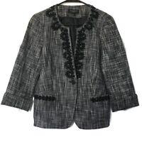 Talbots Womens Size 8 Petite Embellished Jacket Blazer 3/4 Sleeves Black White