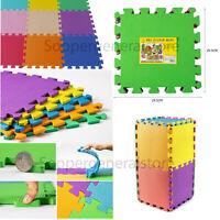 Kids Children PlayMats Soft Foam Interlocking Play Mats Outdoor Activity 9 Pc