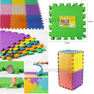 Kids Children PlayMat Soft Foam Interlocking Play Mat Outdoor Activity 9 Pc