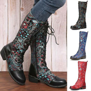 Women Leather Mid Calf Lace Up Boots Block Heel Floral Knight Boots Riding Shoes
