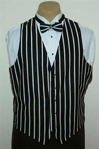 Men's Black & White Striped Pattern Vest