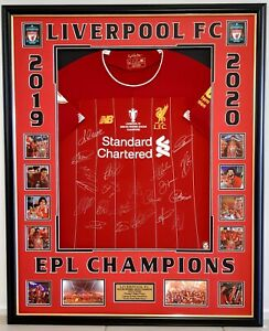 LIVERPOOL FC ENGLISH PREMIER LEAGUE CHAMPIONS 2019/2020 SIGNED FRAMED JERSEY