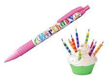 Snifty Pink Birthday Cake Scented Black Ballpoint Pen - Stocking Filler