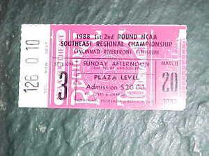 1988 NCAA Basketball Tournament Mideast Southeast 2nd Round Ticket Villanova