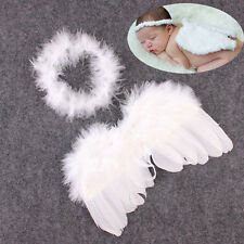 Newborn Baby Infant Angle Wings Costume Photo Photography Props Outfits White