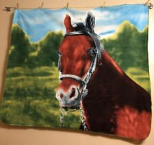 """Horse Head Bridled Sky Trees 50""""x58""""Soft Fleece Blanket Throw"""