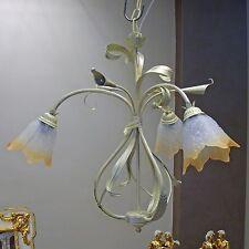 LAMPADARIO sospensione CLASSICO ferro battuto 3L vetri MURANO camera da letto