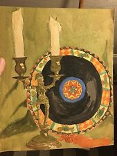 Arts & Craft water color 1920's Marie Greer pottery plate With elfin candlestick