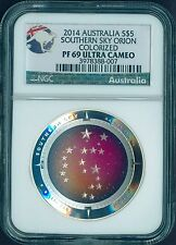 2014 1Oz Silver Domed Constellation Orion $5 Coin NGC PF69 SOUTHERN SKY