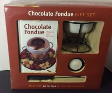 Chocolate Fondue Gift Set 7 Piece Recipe book, Fondue Pot, Candle NEW