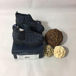 oshkosh Baby Girls Booties Size 6 Toddler Eden Navy Blue Black Leopard Print