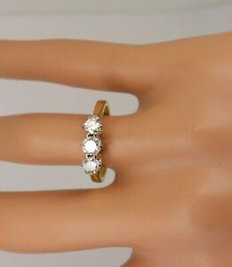 18ct Gold 3 Stone Trilogy Ring .75carat Diamond Ring. Size O. NICE1