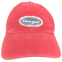 Life Is Good Cap Oval Logo Hat Red Strapback Baseball Adjustable Outdoor Trucker