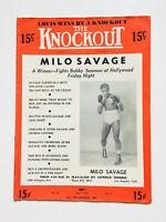 Rare Vintage 1948 The Knockout Milo Savage Boxing Magazine Program
