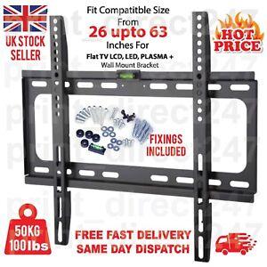 TV WALL BRACKET MOUNT SLIM FOR 26 30 32 40 42 50 63 INCH FLAT 3D LCD LED PLASMA