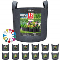 12-Pack 5 Gallon Vegetable/Flower/Plant Grow Bags Aeration Fabric Pots Handles