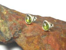 PERIDOT  Sterling Silver 925 Gemstone Earrings / STUDS - 5 x 7 mm  - Gift Boxed