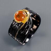 Orange Opal Ring Silver 925 Sterling Beauty Rainbow5x5mm Size 7 /R141414