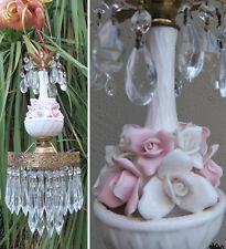 Swag plugin vintage lamp Porcelain Pink barbola Rose Brass chandelier prisms