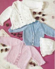 "Baby Easy Knit Cardigans Bonnet Knitting Pattern DK 14-22"" three styles 1112"