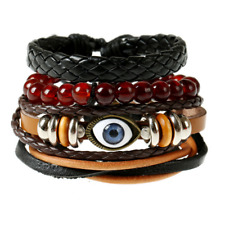 Fashion Unisex Red Beads Bangle Multilayer Leather Weaved Eye Bracelet Wristband
