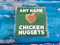 I love Chicken Nuggets Green Personalised Coaster  - Drink Coaster - Add name