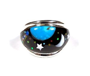 Multicolor, Turquoise Inlay 925 Sterling Silver Men's, Women Galaxy Ring Sz 9-12