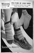 Weldons Vintage Knitting Pattern Leaflet No.264 - TWO PAIRS of ANKLE SOCKS - VGC