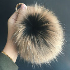 "Black Brown Frost 15cm 6"" Real Raccoon Fox Fur Ball Pompom Keychain Bag charm"