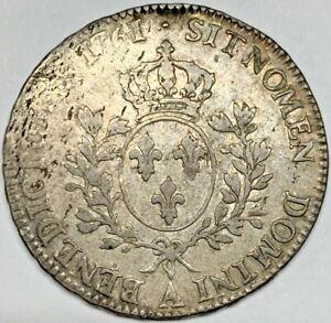 1761 France Ecu F/VF Silver Coin KM 518 .9170 Fineness Fine Very Fine